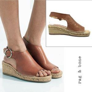 Rag & Bones Calla Leather Espadrille Wedge Sandals